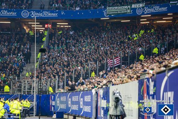 Den Gästeblock des Volksparkstadion erreichten die 171 Werder-Fans am Samstag nicht.<br />Bild: hsv-sc.de